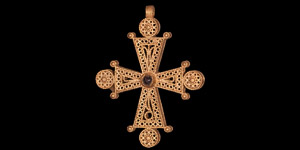 Post Medieval Gold Filigree Cross with Garnet