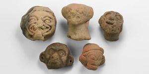 Pre-Columbian Terracotta Head Group