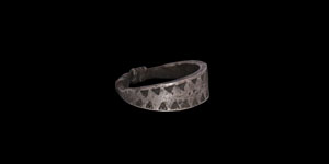 Viking Silver Ring with Stamped Wolfs Tooth Design