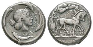 Ancient Greek Coins - Syracuse - Deinomenid Tyranny - Charioteer Tetradrachm
