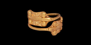 Iron Age Celtic Gold Ring with Snake-Head Terminals