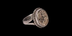 Post Medieval Silver Memento Mori Ring with Skeleton on Horseback