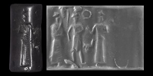Western Asiatic Old Babylonian Cylinder Seal with Worship Scene