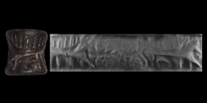 Western Asiatic Syrian Cylinder Seal with Cow and Calf
