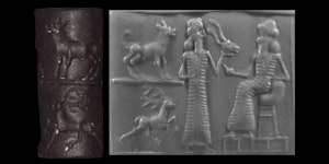 Western Asiatic Anatolian Cylinder Seal with Worship Scene