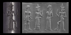 Western Asiatic Old Babylonian Cylinder Seal with Lamma Goddess Worship Scene