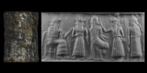 Western Asiatic Akkadian Cylinder Seal with Enki Judgement Scene
