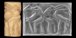 Western Asiatic Akkadian Cylinder Seal with Felines Attacked Ibex