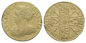 English Milled Coins - Anne - 1713 - Gold Half Guinea