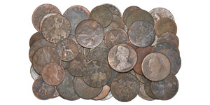 English Milled Coins - Charles II to George III - Mixed Coppers from River Thames [64]
