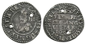 English Stuart Coins - Charles I - 1646 over 4 - Oxford Threepence