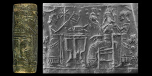 Western Asiatic Neo-Assyrian Cylinder Seal with Banquet Scene