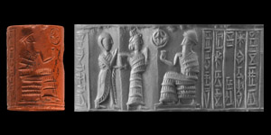 Western Asiatic Isin-Larsa Period Cylinder Seal with Presentation Scene