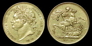 British Milled - George IV - 1824 - Gold Sovereign