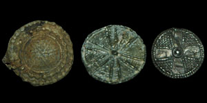 Anglo-Saxon Viking - Three Lead/Pewter Disc Brooches