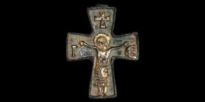 Byzantine Gilt Cross with Corpus Christi