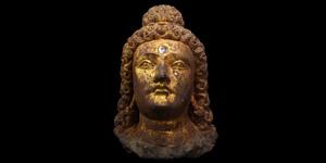Monumental Gandharan Gilded Head of Prince Siddhartha