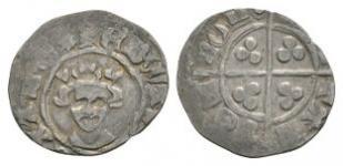 English Medieval Coins - Edward III - London - Long  Cross Halfpenny