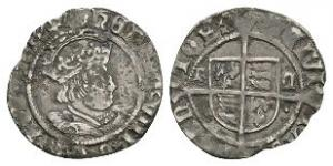 English Tudor Coins - Henry VIII - Thomas Cranmer - Profile Bust Halfgroat