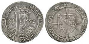 English Tudor Coins - Edward VI - London - Fine Sixpence