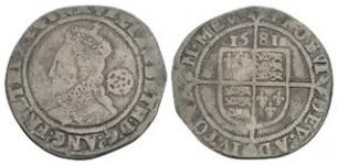 English Tudor Coins - Elizabeth I - 1581 - Sixpence