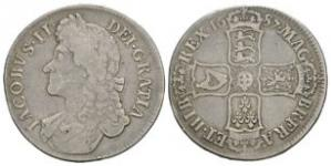 English Milled Coins - James II - 1687 - Crown