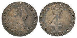 English Milled Coins - George III - 1800 - Groat