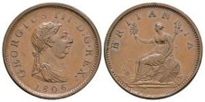 English Milled Coins - George III - 1806 - Penny