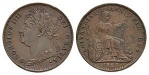 English Milled Coins - George IV - 1823 - Farthing