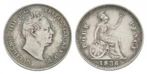 English Milled Coins - William IV - 1836 - Groat