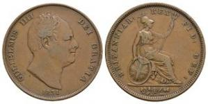 English Milled Coins - William IV - 1831 - Penny