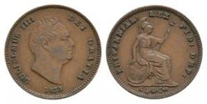 English Milled Coins - William IV - 1835 - Third Farthing