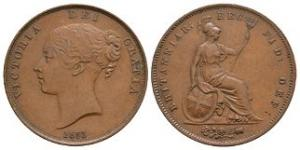 English Milled Coins - Victoria - 1853 OT - Penny