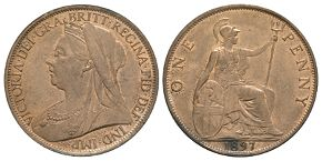 English Milled Coins - Victoria - 1897 - Penny