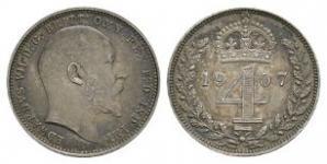 English Milled Coins - Edward VII - 1907 - Maundy Groat