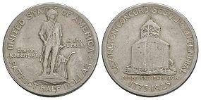 World Coins - USA - 1925 - Lexington-Concord Sesquicentennial Half Dollar