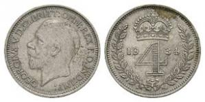English Milled Coins - George V - 1934 - Maundy Groat
