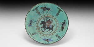 Minai Glazed Bowl with Horsemen