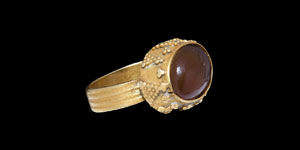 Roman Gold Ring with Eagle Gemstone