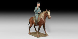 Chinese Tang Horse and Rider Figure