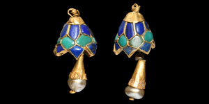 Lapis Lazuli and Turquoise Inlaid Gold Earring Pair