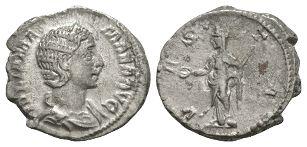 Ancient Roman Imperial Coins - Julia Mamaea - Vesta Denarius