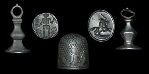 English 17th Century - Two Silver Pendant Seals and Thimble