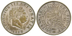 English Milled Coins - George III - 1818 - Contemporary Currency Forgery Halfcrown