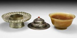 Indian Silver and Jade Incense Burner