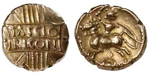 Iron Age Celtic Coins - Catuvellauni - Tasciovanus - Gold Tascio Rigon Stater