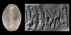 Neo-Babylonian Bead Seal with Deities Ninurta and Gula