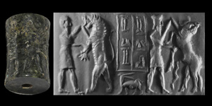 Old Akkadian Cylinder Seal with Two Contest Scenes