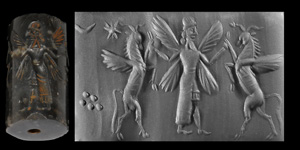Neo-Babylonian Cylinder Seal with Contest Scene