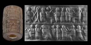 Early Dynastic IIIA Cylinder Seal with Banquet Scenes